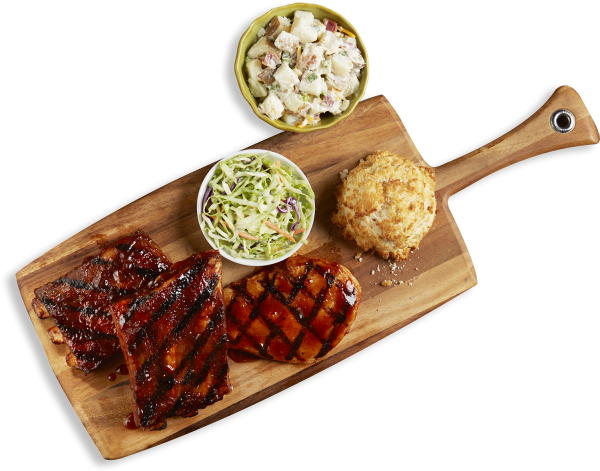 1/2 Rack of Ribs and BBQ Chicken