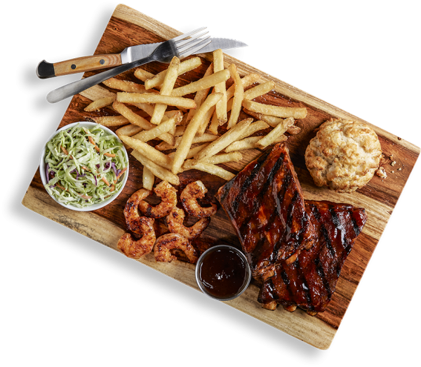 1/2 Rack of Ribs and BBQ Seared Shrimp
