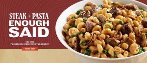 Steak + Pasta. Enough Said. Try our Tenderloin Steak Tips Stroganoff! Order Now