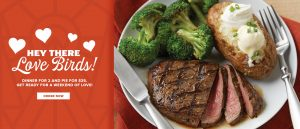 Hey there love birds! Dinner for 2 and pie for $35. Get ready for a weekend of love. Order now!