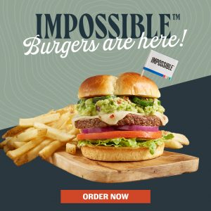 Impossible Burgers. You can now make any burger an Impossible Burger Made from Plants for Meat Lovers. Order now.